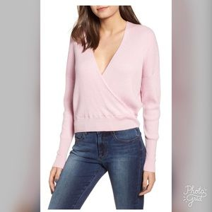 Leith Sweaters - Leith Surplice Ribbed Crop Sweater- ChicEwe